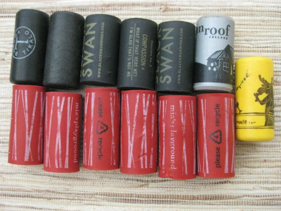 Upcycled Wine Corks, Funky Colored Lot of 13, synthetic, crafting supplies, multi-colored, recycle