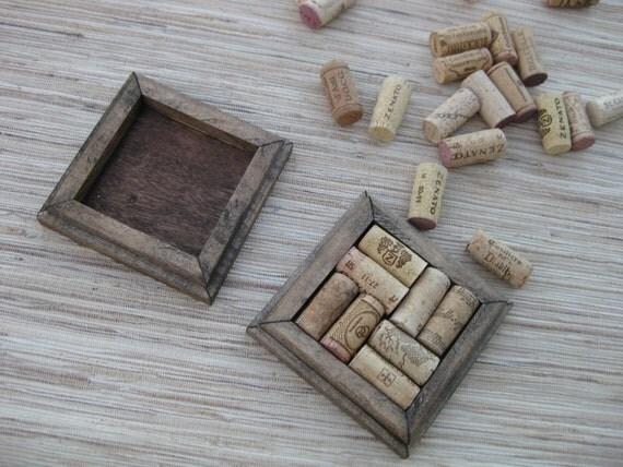 Wine Cork Coasters - DIY set of 2 - dark brown on reclaimed wood - save your wine corks