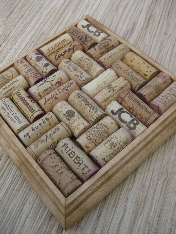 RESERVED  Wine Cork Trivet made from Reclaimed Wood and Upcycled Oak Wine Corks - honey color