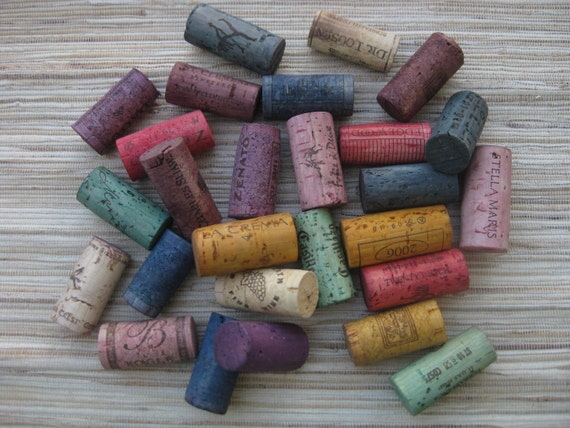 Wine Corks - Rainbow Dyed - eco crafting supply, upcycle, craft, DIY, multi-color