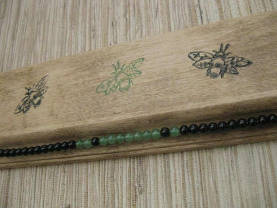Bee Earring Genie - reclaimed wood earring holder - green & black ecofriendly earring organizer
