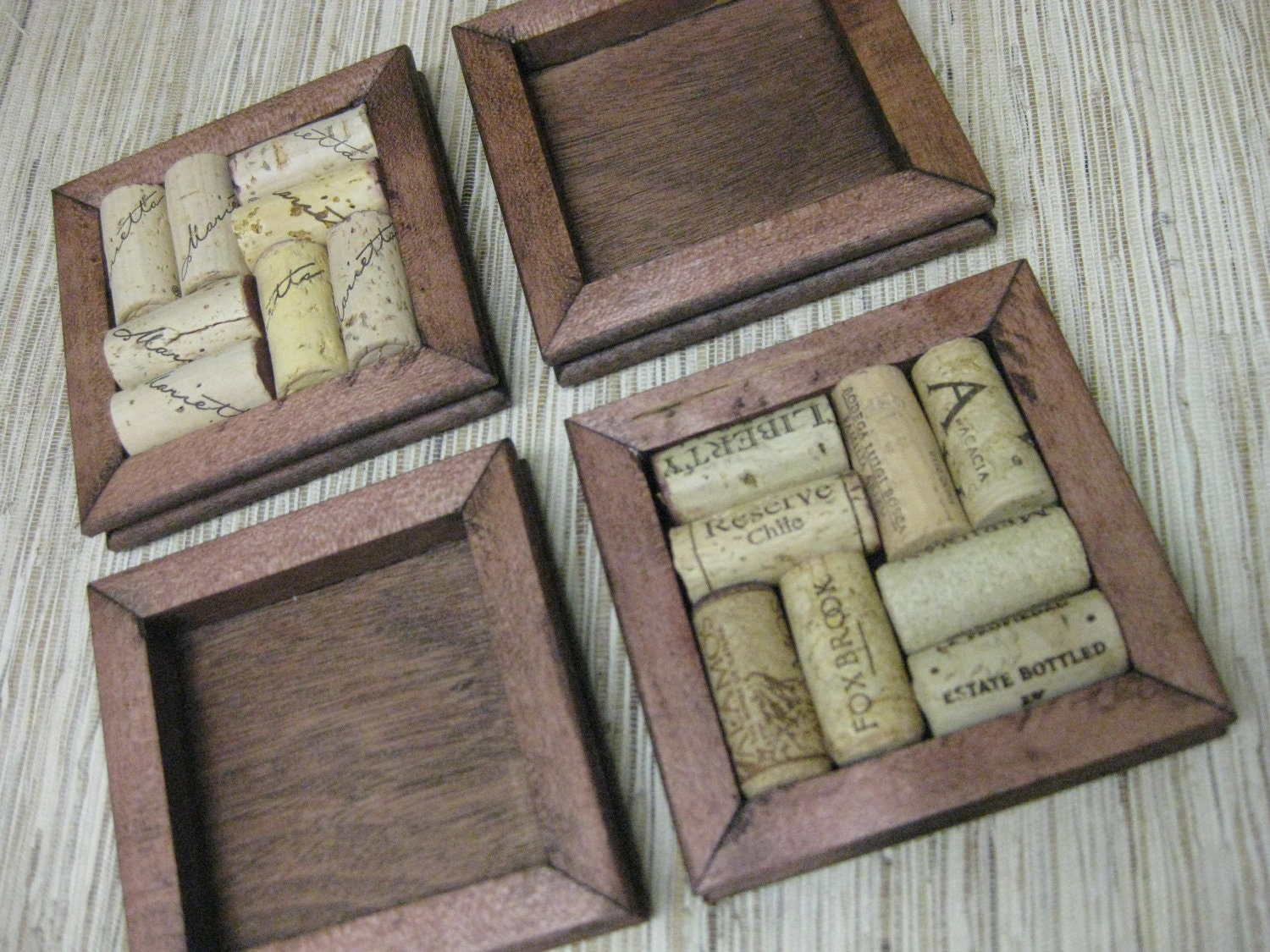 Wine Cork Coaster Diy Kit Set Of 4 Made From Reclaimed Wood
