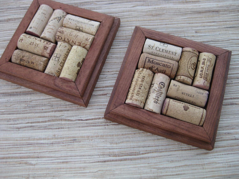 Reclaimed Wine Cork Coasters DIY CRAFT set of 2 rustic