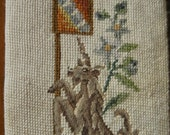 Vintage lion and unicorn needlepoint bell pull