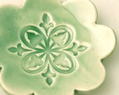 Green Flower Trinket Dish or Bowl with Filigree Stamp