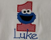 Boys or Girls, Cookie Monster, Birthday Shirt or Onesie, YOU DESIGN, Monogrammed, Personalized