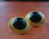 Monet Round Black and Gold Tone Chain Design Earrings
