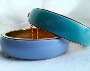 Set of Two Metal Pastel Bangle Bracelets