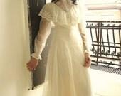 Victorian Edwardian Vintage Cream Grecian Wedding Dress Romantic Lace