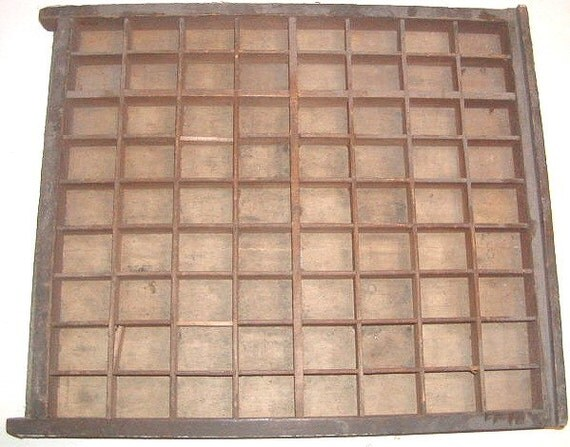 Antique Wooden Type Printers Drawer Shadow Box 5