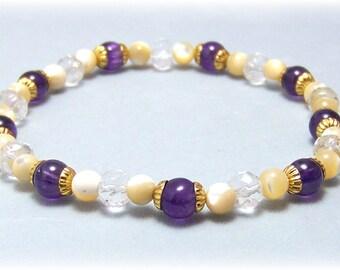 Stretch Bracelet - Gemstone Bracelet - Amethyst, Bead Bracelet, Gemstone Jewelry