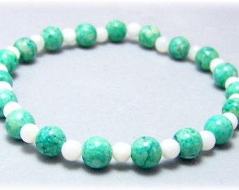 Stretch Bracelet - Gemstone Bracelet - Green Riverstone Bracelet, Gemstone Stretch Bracelet, Bead Bracelet, Gemstone Jewelry