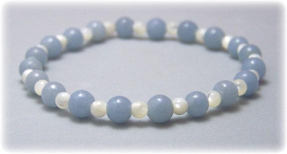 Stretch Bracelet - Gemstone Bracelet - Angelite, Bead Bracelet, Gemstone Jewelry