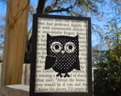 Polka Dot Owl Wooden Block made with VINTAGE BOOK PAGES - 10.00 gift  for Man, Woman, Baby, Boy, Girl, Teacher