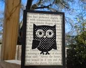 Polka Dot Wooden Owl Block