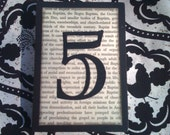 Custom wood table numbers - made with VINTAGE BOOK PAPER for Wedding Decor