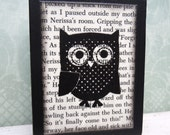 Polka Dot Owl Art Wood Block - Unique Dorm Room Decoration - Owl Picture