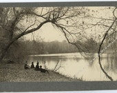 Gothic Artistic Antique Photo / Outdoor Scene of People at Lake