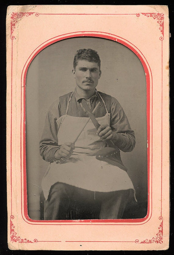 RESERVED // Large 1870s Occupational Tintype of a Handsome Butcher with Knife