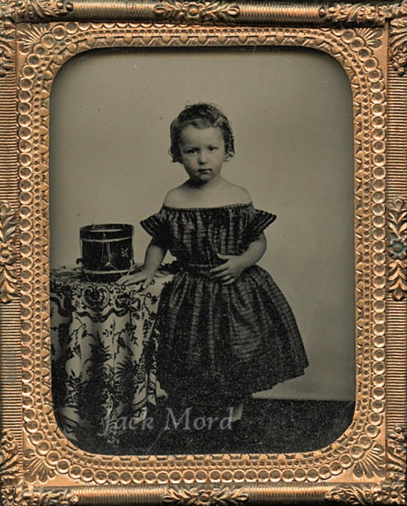 RESERVED // Civil War Era Cased Photo / Little Drummer Boy in DRESS with Toy Drum / Mourning Union Case