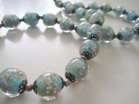 Venetian Goldstone Aventurine Lampwork Vintage Bead Necklace, Blue and Gold Murano Glass Italian