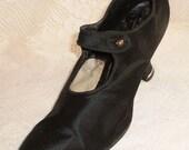 1920s Black Silk Shoes - Ladies Button Strap