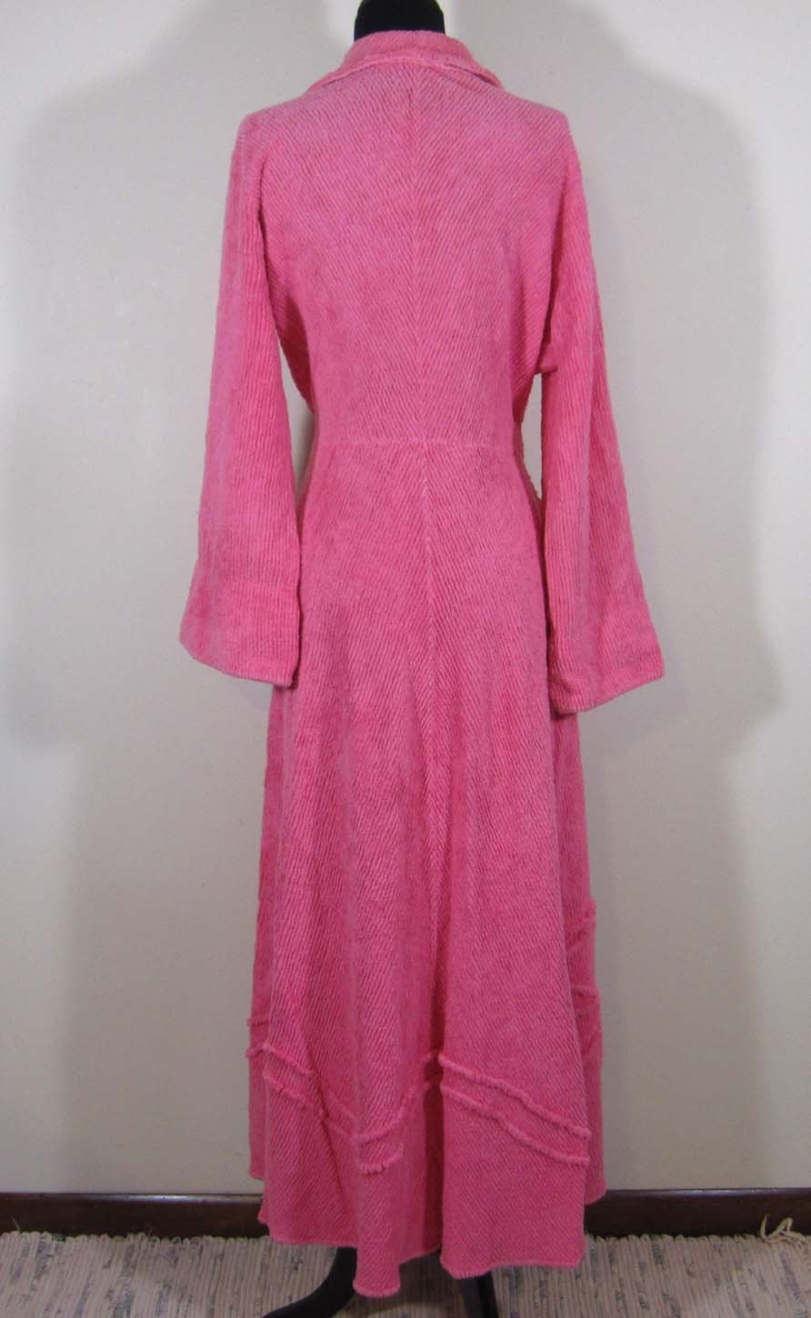 Vintage Pink Chenille Robe Floor Length M L By Janesvintage