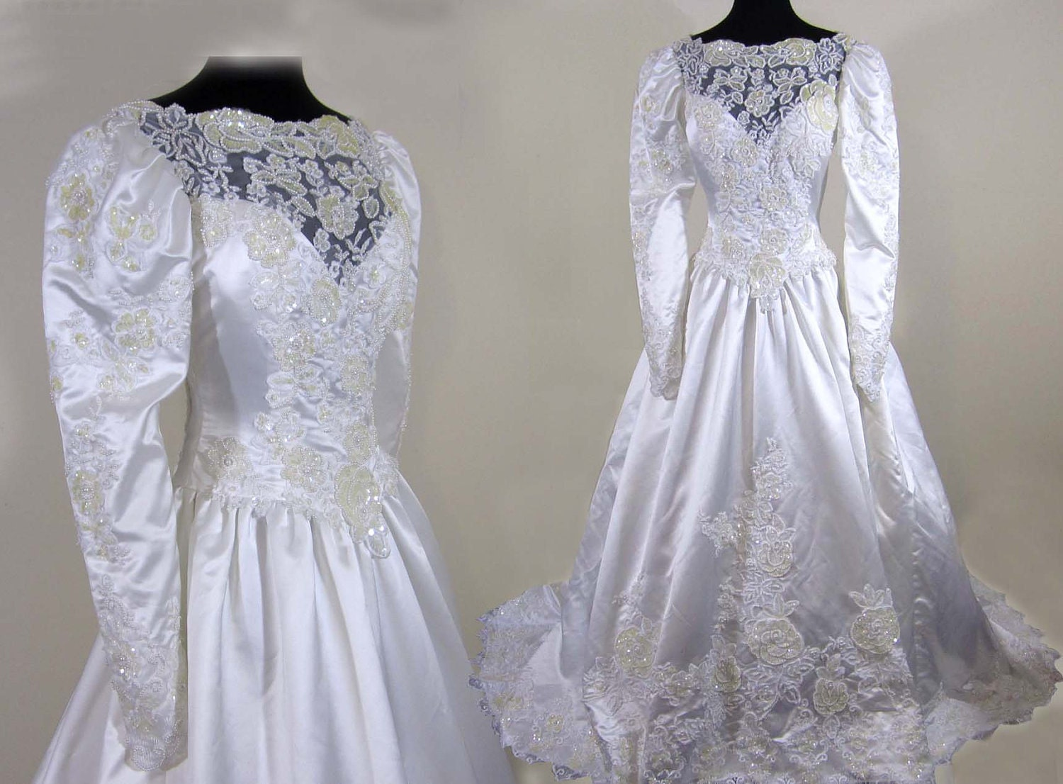 Sale 1980s satin wedding bridal gown exquisite beading for Wedding dresses for sale by owner