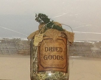 Dried Goods- Prim Prairie Grass Glass Gallon Jar