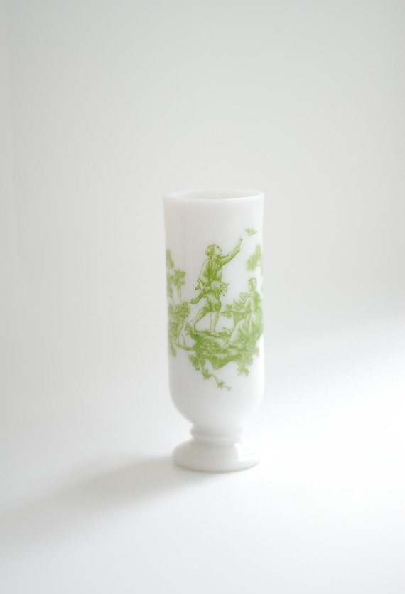 Vintage 1969 Milk Glass Demitasse Cup with Green Toile Design Demi-Cup 1960s Made by Avon
