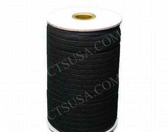 Three Eighth Inch Black Braided Elastic 144 yds Roll