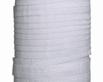 One Inch White Fold Over Elastic FOE 50 yds Roll