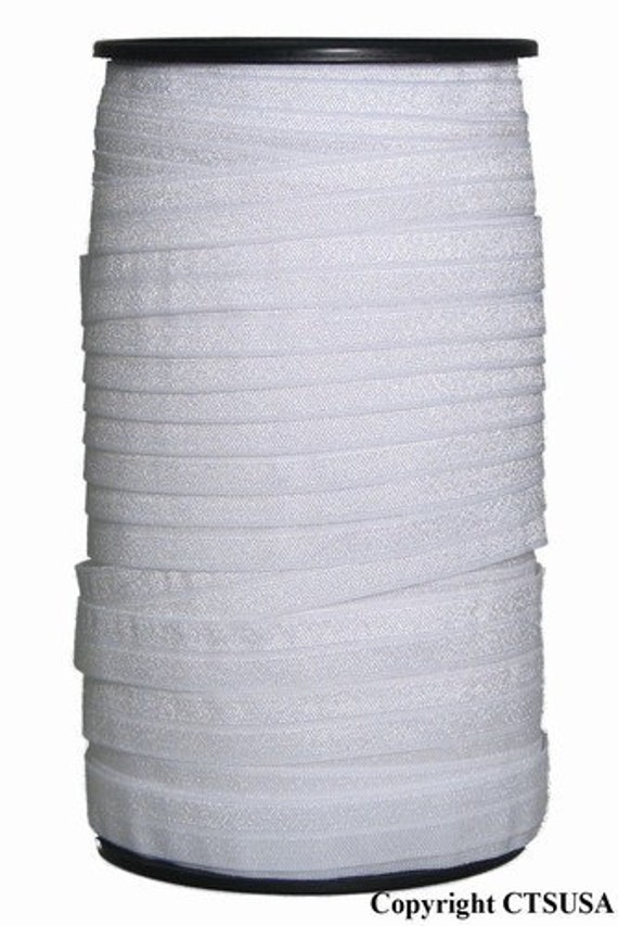 """1"""" White Fold Over Elastic for Cloth Diapers FOE Wholesale 50 yds Roll"""