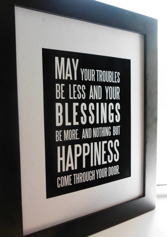 irish blessing may your troubles be less by ecceprints