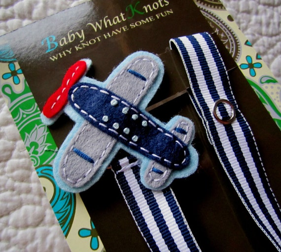 Baby Boy Pacifier Clip, Airplane Pacifier Clip, Baby Plane Pacifier Clip