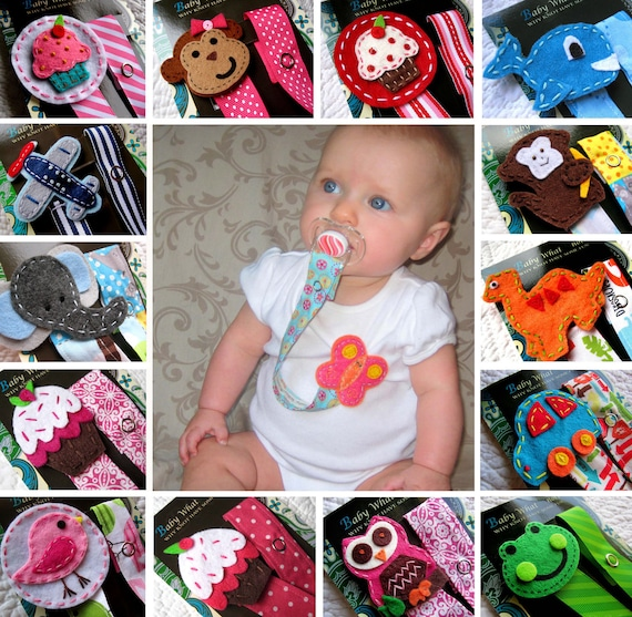 Any 2 Pacifier Clips, Baby Girl Pacifier Clip, Baby Boy Pacifier Clips, Cupcake, Owl, Car, Monkey and More - U Pick any 2 for 16.50