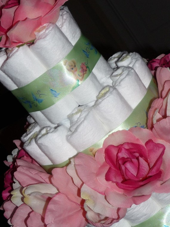 items similar to tinkerbell baby shower diaper cake on etsy