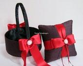 Flower Girl Basket and Wedding Ring Pillow  Ring Bearer Pillow Set - Custom Made