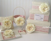 Lace Wedding Card Box Set - includes Ring Pillow, Flower Girl Basket and Guest Book Custom Made