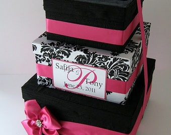 Damask Wedding Card Box Gift Card Money Holder  - Custom Made