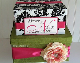 Wedding Card Box Gift Card Holder Damask - Personalized and Customized