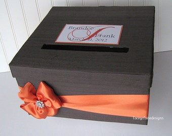 Wedding Card Box Charcoal Grey and Orange - You customize colors