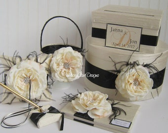 Wedding Card Box Set - includes Ring Pillow & Flower Girl Basket and Guest Book Custom Made
