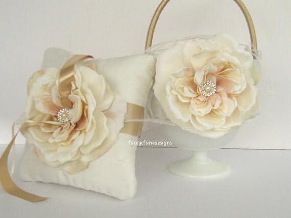 Flower Girl Baskets And Ring Pillows : Flower girl basket and wedding ring pillow set custom made