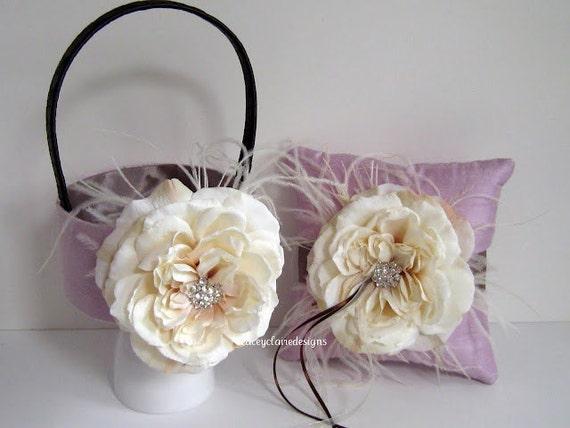 Flower Girl Basket and Ring Bearer Pillow Set Custom Made