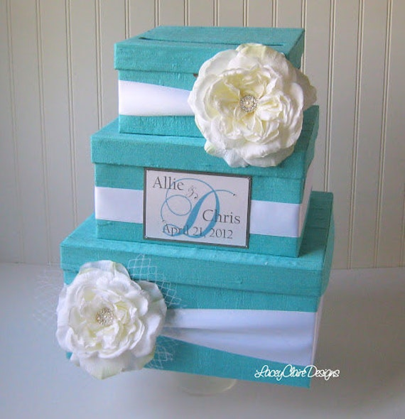 Wedding Card Box Money Box Custom Card Box - Tiffany Blue Wedding - 100% Dupioni Silk