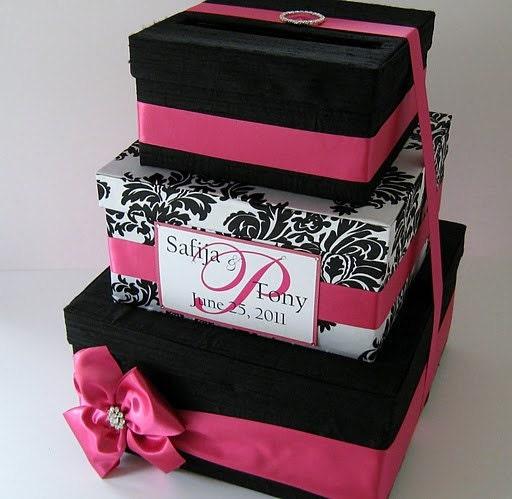 Wedding Mailbox Gift Holder : Damask Wedding Card Box Gift Card Money Holder Custom Made