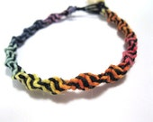 Spiral Rainbow and Black hemp bracelet
