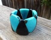 black and turquoise tagua bracelet - large triangle beads