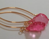DARK Pink/HOT Pink Peridot Lucite Earrings